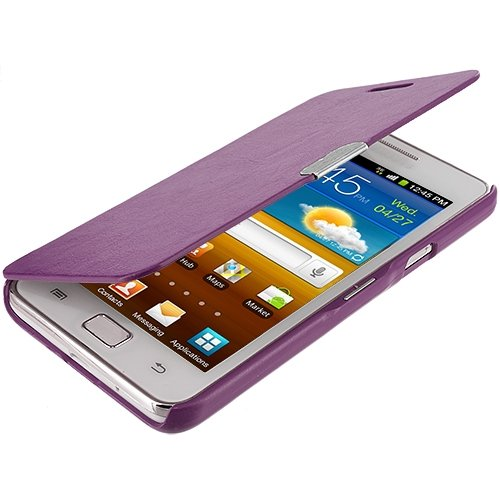 Cell Accessories For Less (Tm) Purple Texture Magnetic Wallet Case Cover Pouch For Samsung Galaxy S2 I9100 // Free Shipping By Thetargetbuys front-935292