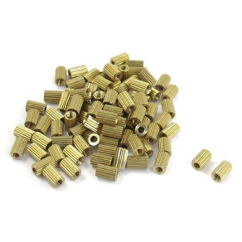 50 Pcs Female Threaded Pillars Brass Standoff Spacer Gold Tone M2x5mm