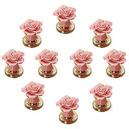 IdealDecor 10 PCS Pink DIY Vintage Rose Flower Ceramic Door Knob Drawer Pull Handle Cabinet Cupboard Wardrobe Hardware Home Decor With Golden Base
