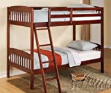 Twin Size Bunk Bed Casual Style in Cherry Finish