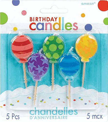 Amscan Balloon Toothpick Birthday Candle Set, Multicolor - 1