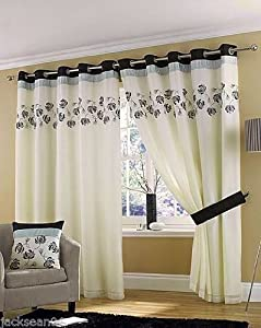 """Stunning Cream Black Silver Lined Ring Top Eyelet Voile Curtains W90"""" X L72"""" - 229 X 183 Cm (each Panel) by PCJ SUPPLIES"""