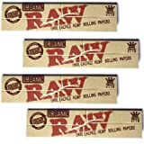Raw King Size Organic Cigarette Rolling Papers, 4 Packs