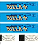 3 Rizla Blue King Size Slim Rolling Papers & 2 Quintessential Standard Roach Tips Deal By Trendz
