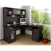 Bush Furniture Cabot L-Desk with Hutch (Espresso Oak)