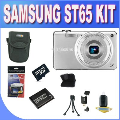 Cyber Monday Samsung EC-ST65 Digital Camera with 14 MP and 5x Optical Zoom (Silver) + 4GB Micro SD Memory + Extended Life Battery + USB Card Reader + Memory Card Wallet + Shock Proof Deluxe Case + Accessory Saver Bundle! Deals