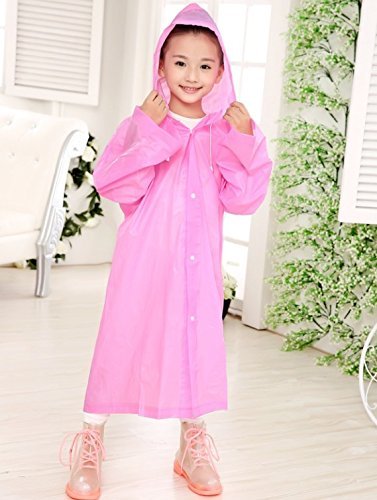 Aircee Age 6~12 Kids Transparent Hooded Jacket Long Raincoat Cover Long Rainwear (Pink)