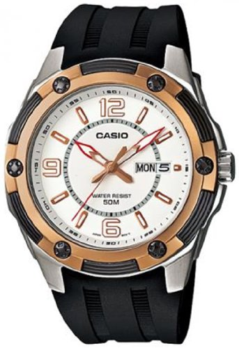 Casio Men's MTP1327-7A1V Black Resin Quartz Watch with White Dial
