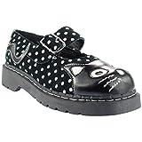 T.U.K. T2210 TUK Shoes Black & White Polka Dot Anarchic Mary Janes Dots