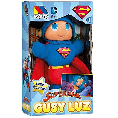 MOLTO 15869 Superman - Muñeco Gusy Luz que se ilumina, 28 cm