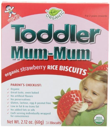 Toddler Mum-Mum Organic Strawberry Flavor Rice Biscuit, 24-pieces (Pack of 6) Kids, Infant, Child, Baby Products