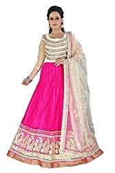 Khazanakart New Attractive Pink Colour Net Top,Santoon Bottom and Net Dupatta Fabric Bollywood Style Designer Salwar Suit Dress Material For Wome.