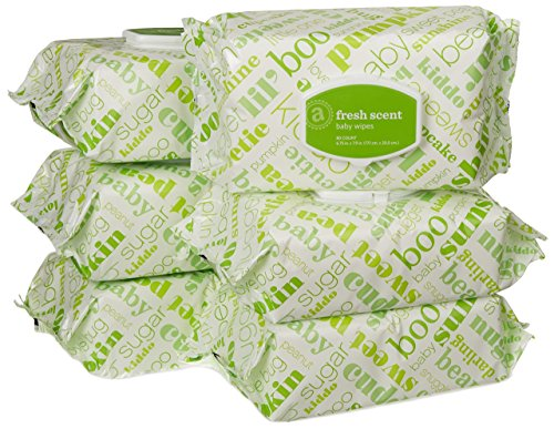 Amazon Elements Baby Wipes, Fresh Scent, Flip-Top, 480 Count