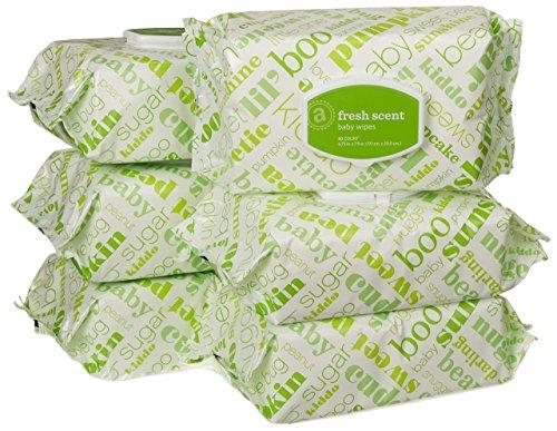 Amazon Elements Baby Wipes, Fresh Scent, Flip-Top, 480 Count