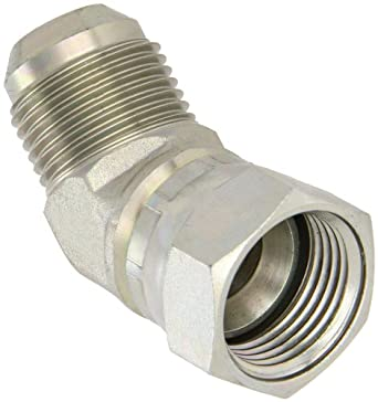 "EATON Aeroquip 2070-12-12S 45 Degree Swivel Nut Elbow, JIC 37° End Types, Carbon Steel, 3/4 JIC(f) x 3/4 JIC(m) End Size, 3/4"" Tube OD"