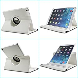 TGK 360 Degree Rotating Leather Case Cover Stand For iPad 4, iPad 3, iPad 2 - White