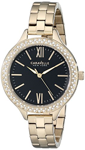 Caravelle by Bulova Women's Gold Tone Steel Bracelet & Case Quartz Black Dial Analog Watch 44L126