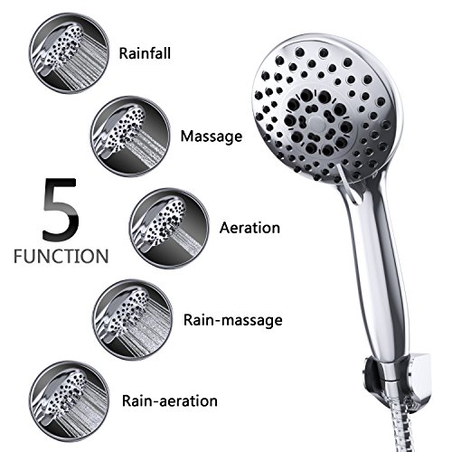 Luxury Handheld Shower Heads - Rain Shower Head By Smartier - High Pressure & Premium Comfort - Premium Chrome - Best Rain Spray Shower Head - 5 Foot Hose, Holder Included - Ultra Flexible - 5 Setting (Bath Spout Shower Head compare prices)