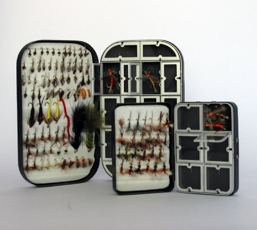 2 Fly Boxes + 100 Assorted Fly Fishing Flies