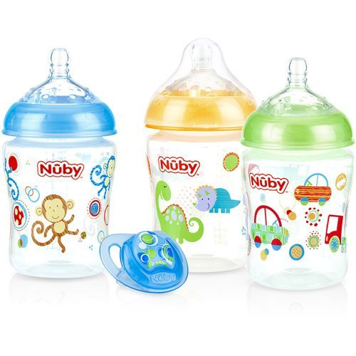 Nuby 3-Pack Natural Touch 9-oz Printed Baby Bottles with Comfort Orthodontic Pacifier, Boy, BPA-Free - 1