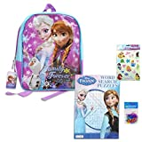 4 Item Bundle: Disney Frozen Backpack for Girls (full size), Disney Frozen Puzzle Book, Disney Stickers (8x10 sheet), and 12-pack Silicone Shaped Bracelets - Disney Frozen Gifts for Girls