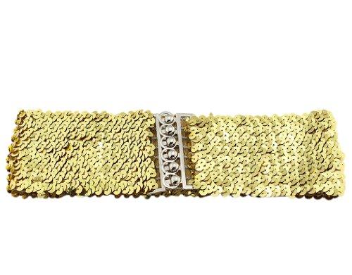 BONAMART ®Women Girls Glitter Sequins Elastic Fabric Wide Belt Waistband Cinch