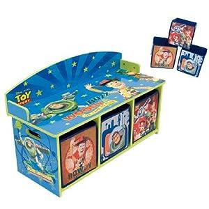 Toy story banco de madera infantil y guardajuguetes de - Cajones guarda juguetes ...