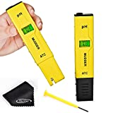 Mudder 0.01 Readout Accuracy Digital Pocket Pen Type pH Meter with ATC, Big Size Backlit LCD, 0.00-14.00 pH Measurement Range, Measure Water (Yellow)