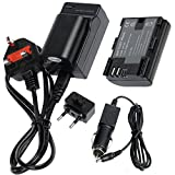 TOP-MAX 2pcs LP-E6 Battery + Travel Charger for LPE6 Battery Canon EOS 5D Mark II, EOS 5D Mark III, EOS 6D, EOS 7D, EOS 60D, EOS 60Da, EOS 70D, 7DmarkII,7DmarkIII