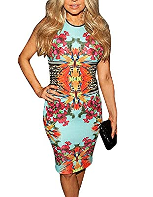 Cfanny Women's Sleeveless Fashion floral Print Dress