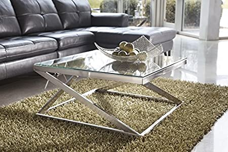 Coylin collection nickel finish metal and glass square coffee table
