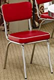 Set of 2 Retro Nostalgic Style Red Finish Dining Chairs