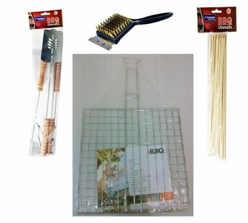 BBQ BARBECUE UTENSIL SET OF ACCESSORY SKEWERS, BRUSH, TONGS, GRILL RACK, SPATULA