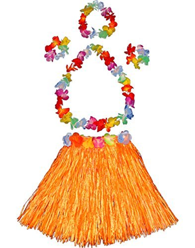 Girl's elastic Hawaiian hula dancer grass skirt with flower costume set-orange