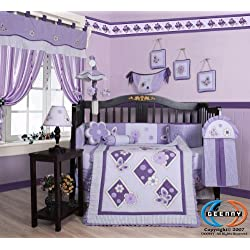 Boutique Brand New GEENNY Lavender Butterfly 13PCS Baby Nursery CRIB BEDDING SET