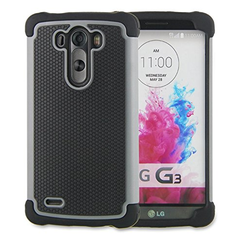 LG G3 Case,G3 Case Protective*HOT* [Drop Protection][shockproof][Rugged],Rubber+Hard case cover and Dual Layer Protective Case for LG G3(2015)-(gray) (Lg G3 Phone Case Speck compare prices)