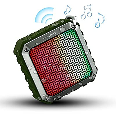 Marvo Outdoor Portable Bluetooth Speaker 4.0 with Dynamic LED Lights, 12 Hour Playtime for Outdoors Entertainment, Shower (Army Green)