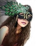 Spinas(スピナス)  レディース 仮面 舞踏会 孔雀 アイマスク カチューシャ 装着10秒簡単ハロウィン!大ぶりな孔雀モチーフがあなたを特別にしてくれる?