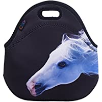 White Horse Insulated Lunch Tote Bag Cooler Box Neoprene Lunchbox For School Work