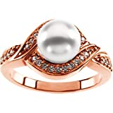 18K Rose Gold Akoya Cultured Pearl and Diamond Ring - 7.50mm Size 5.0