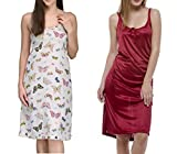 Pack of 2 Pieces Satin Lycra Night Dress For Women's