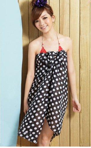 Tamari Black and White Polka Dot Sarong Beach Cover Up Wrap Dress For Women One Size