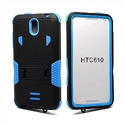 HTC Desire 610 Case Kuteck Armor Shockproof Hybrid Rugged Stand Case Cover For HTC Desire 610 Bonus 1x Stylus Pen (Black/Blue)