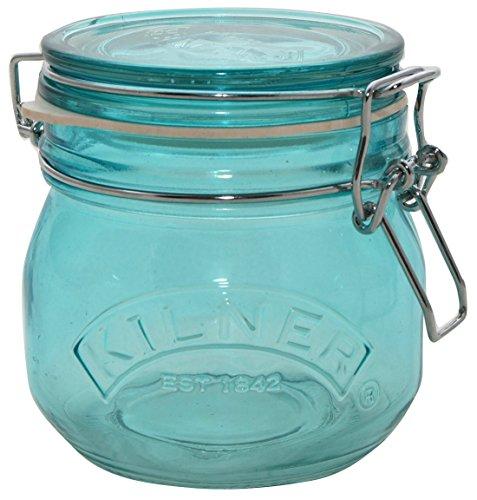 Kilner Round Clip Top Blue Jar, 17-Fl Oz
