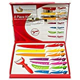 Imperial Kitchen Collection Colorful Knife Set Stainless Steel. Best Kitchen Knife Set, Love It Or Return It! Super Easy Clean Modern Blades, Nice Non-Stick Cutlery. 8 Pieces