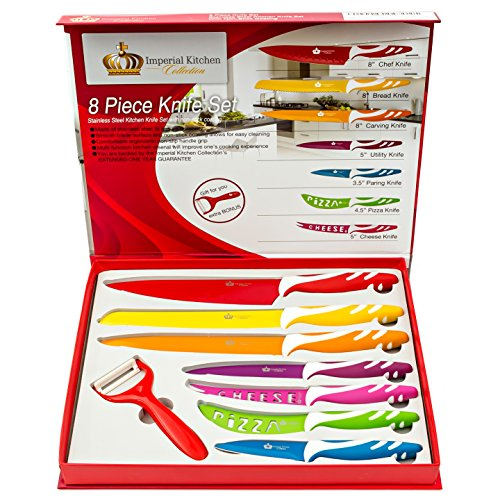 #1 Best Knife Set. Stainless Steel Knife Sets, Super Easy Clean Modern Blades, Nice Non-Stick Cutlery. 8 Pieces. Premium Gift