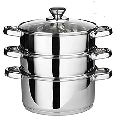 24cm 4pc Steamer Cooker Pot Set Pan Cook Food Glass Lids 3 Tier Stainless Steel Suitable For Gas Electric Hobs And Solid Hot Plates Brand New And High Quality from Sundry