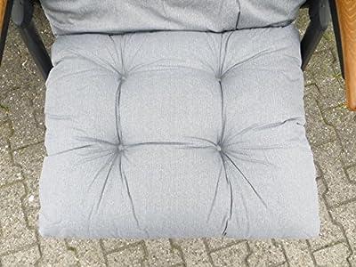 10 cm Luxus Hochlehner Flocken Auflage in uni grau von Madison - Gartenmöbel von Du und Dein Garten