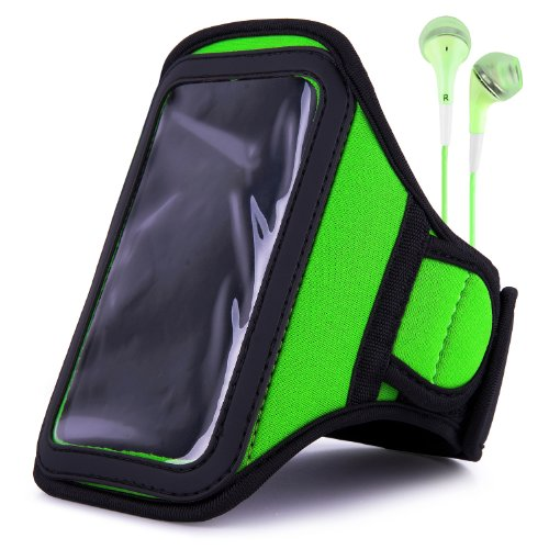 Vangoddy Armband - Lime Green Neoprene Sweat-Proof W/ Key & Id Card Pouch For Samsung Galaxy S3 Iii 4G Smartphone + Green Handsfree Microphone Headphones