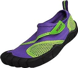 Norty - Girls Skeletoe Velcro Close Aqua Water Shoe, Purple 38897-13MUSLittleKid
